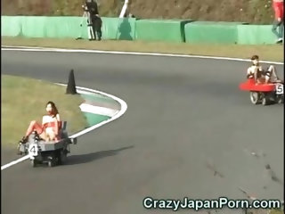 I'm pretty sure Michael Schumacher loves this crazy japanese porno version of the Formula 1! Hot asian chicks driving cars with integrated fuck m