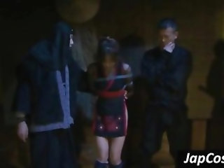 Tied up Japanese slave gets tortured by two ninjas
