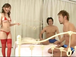 Aoi in red thigh high stockings bends over to be banged...