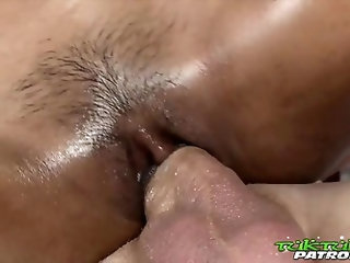 Thai spinner gets fucked hard by big white cock