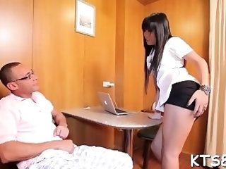 Steely shaft drives in large anal opening of a transsexual