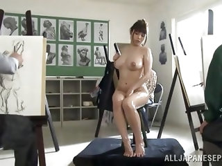 Asian cutie is all wet! I don't know, how these painters concentrate on their work with this wet, naked busty babe, spreading her legs for everyo