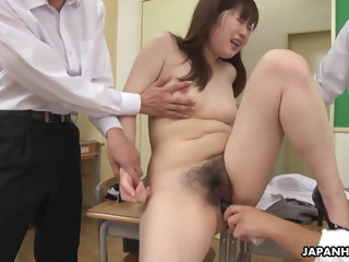 Japanese teacher, Hanaho had wild group sex, uncensored