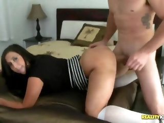 Bald dude Valerie Kay coveted to driving car young brunette Jmac, he shoved his hand under chickòÀÙs skirt and squeezed her tight cunt, girl got truly