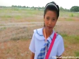 Real Life Asian Schoolgirl Outdoors