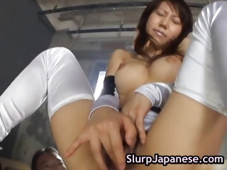 Asian slut sucking and jerking 2 guys part6