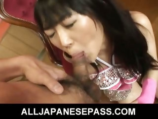 Hello Mikity Japanese doll pokes her hairy pussy with a