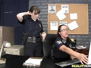 Two gorgeous ladies in cop uniform Dana DeArmond and Francesca Le enjoy in getting their hands on two handsome lads Ramon and Chris Johnson and get re