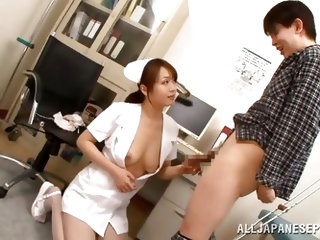 If you are fond of girls wearing uniform, check out sexy Eri, who receives her patient for the daily medical consultation. The slutty nurse shows off