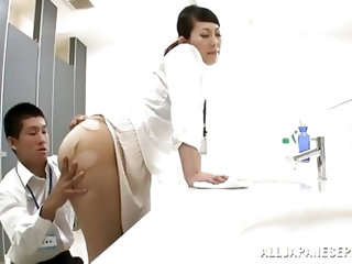 Two horny doctors are doing some naughty and dirty work in the hospital. The bitch bends over in front of her doc and he rips her pantyhose before eat