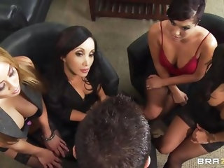 These four hot babes are going to make an offer to their boss her really can't refuse. See how the first one goes and and takes her clothes off a