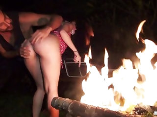 The more, the merrier! The bitches in the video just adore parties outdoor, where they can get really wild, undress and have fun with horny guys. The