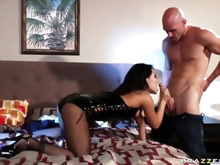 Arousing very experienced asain pornstar goddess Asa Akira with perfect body in fishnet stockings and high heels gives head to horny Johnny Sins with