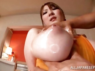 Are you a great fan of Japanese babes? Or into big natural tits? This bitch matches the description. It is such a pleasure to squeeze those amazing ti