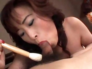 Japanese milf gets naughty with her man