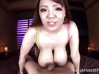 A taste of my hard cock made her reveal those huge boobs! Hitomi is a slut and further more, she knows how to handle a hard dick between her breasts!