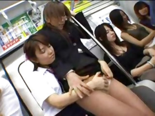Asian dildo sex on a train