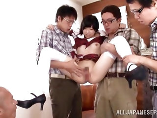 Naive Japanese schoolgirls, wearing sexy uniforms, are so delicious! A group of horny men take advantage of the chance, to undress her and get turned