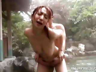 Japanese bitch stays in the water and is approached by two horny guys. They play with their huge titties and make her suck their big hard dicks. The w