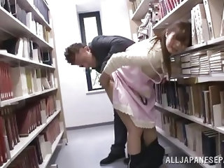It's a normal library with an ordinary girl that's looking for a good book until something happened. This horny guy got wild seeing her body