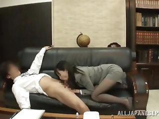 A sexy japanese chick is being seduced by her boss. At first she feels a little shy but within a moment all her shyness turned into lust, and she can
