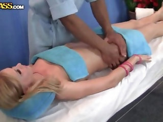 A strong brutal masseur said to relax for Georgie Lyall. She has wonderful naked body and his cock becomes erect. He tries to keep it in secret, but s