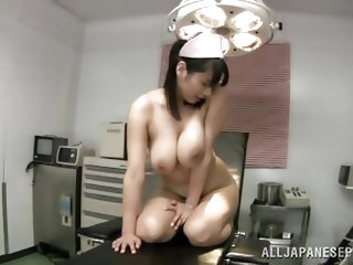 Sexy Japanese nurse Hana, takes her tits out and plays with her giant boobs. She is looking super cute and sexy today. Look at how amazing she looks i