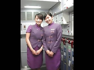 Asia of a certain airline cabin attendant is flowing out the in nature's garb Dziga take image and Gonzo Movie!