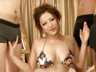 Meisa is a very pretty Nippon lady but she's a lustful whore and now she needs some cum on those sweet tits. She's down on her knees surroun