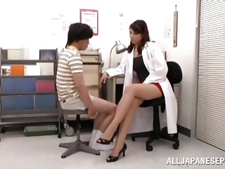 This Japanese student is complaining about a pain in his groin so he goes to see the school's nurse. She inspects his penis and determines that h