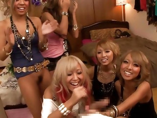 I bet you love to have around beautiful ladies who like to play dirty games. This guy??s lucky to be spoiled by a group of sexy Japanese babes. The gi