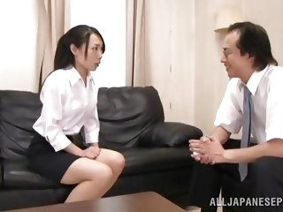 The principal has found naked pictures of teacher Shino. He threatens to show them to the faculty, unless she sucks his cock. She agrees and gets nake